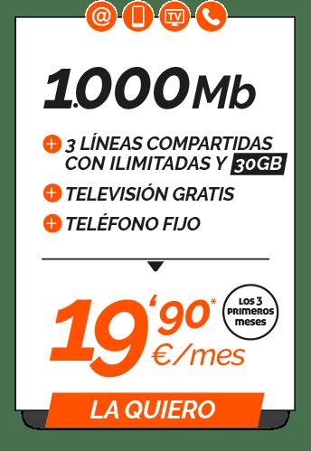 Promo 1000Mb + 3 Líneas compartidas Ilimitadas 30GB